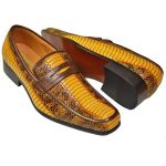 Gold Yellow/Black Python Snake Print Moc Toe Penny Synthetic Loafer & Slip Ons