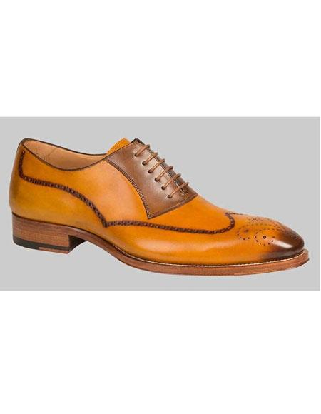 Men's Mustard Tan Exotic Style Wingtip Oxford Leather Shoes Authentic Mezlan Brand
