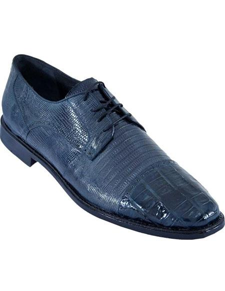 Mens Navy Blue Oxfords Style Los Altos Genuine Crocodile Belly And Teju Lizard Dress Shoes