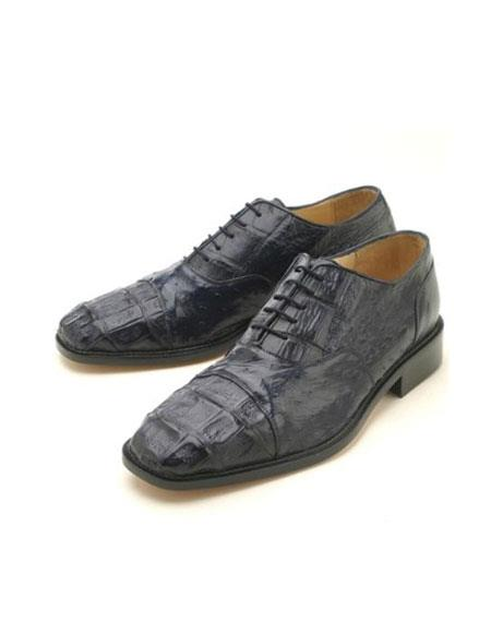 Oxfords Navy Croc & Ostrich Authentic Genuine Skin Oxford Dress Shoe