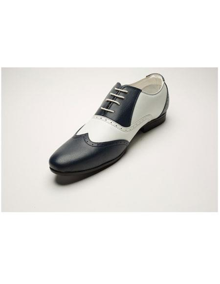 Men's Two Toned Lace Up Navy/White Casual Dress Oxford Shoes Perfect for Men