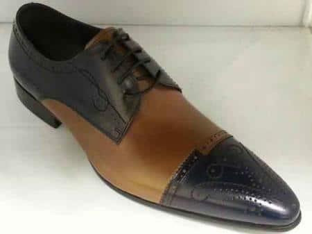 Zota Mens Unique Dress Unique Zota Mens Dress Shoe Brand Men's Leather Footwear Unique Hand Stitching Navy/Tan Lace Up Cognac Rust Copper Color Shoes