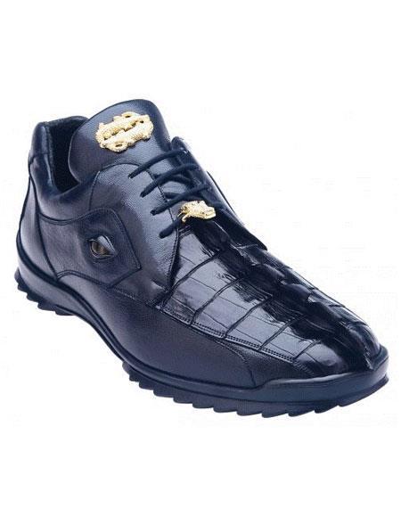 Belvedere Vasco Night Blue Genuine Hornback Crocodile / Soft Calf Casual Sneakers with Eye