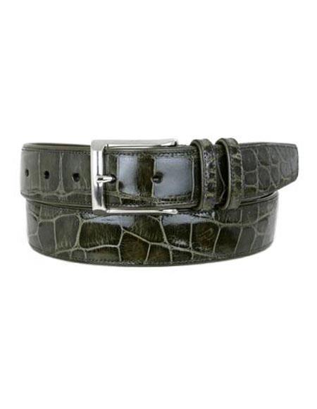 Mezlan Belts Men's Olive All-Over Genuine World Best Alligator ~ Gator Skin Skin Handmade Belt