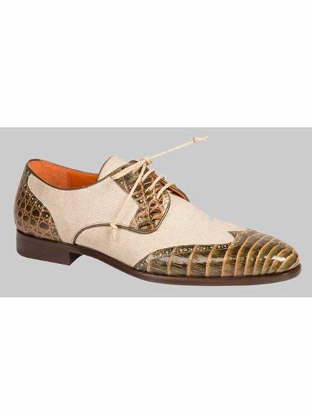 Mezlan Brand Olive ~ Bone Genuine Crocodile / Linen Wingtip Oxford Shoes