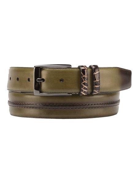 Mezlan Belts Brand Men's Genuine World Best Alligator ~ Gator Skin / Calfskin Olive / Brown Skin Belt