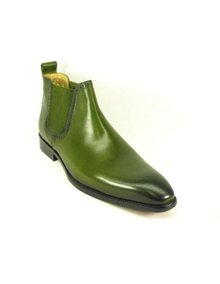 Men's Slip On Olive Burnished Leather Boot