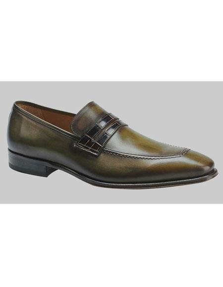 Mens Olive Unique Gator Strap Penny Loafer Shoes Authentic Mezlan Brand