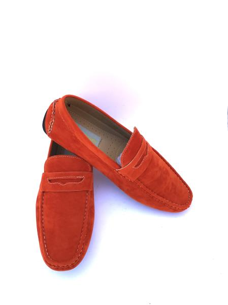 Men's Slip-On Style Solid Orange ~ Rust ~ Cognac Fashionable Loafers
