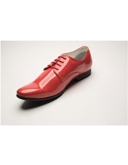 Men's Shiny Salmon ~ Coral ~ Peach color Lace Up Leather Shoes