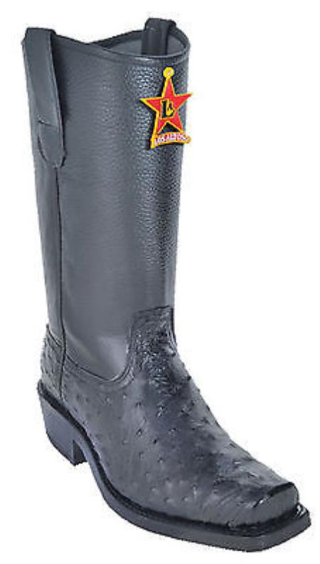 Full Quill Ostrich Black Los Altos Men's Biker Boots Motorcycle Style Harness