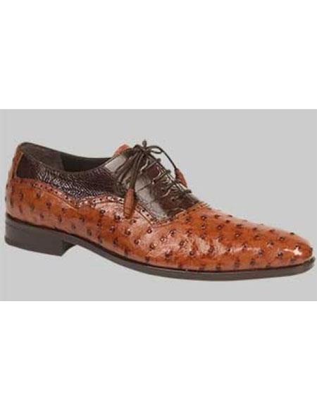 Men's Ostrich Brandy Bumpy Laceups Handmade Shoes Authentic Mezlan Brand