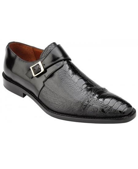 Men's Monk Strap Genuine Ostrich & Italian Calfskin Black Loafer Shoes