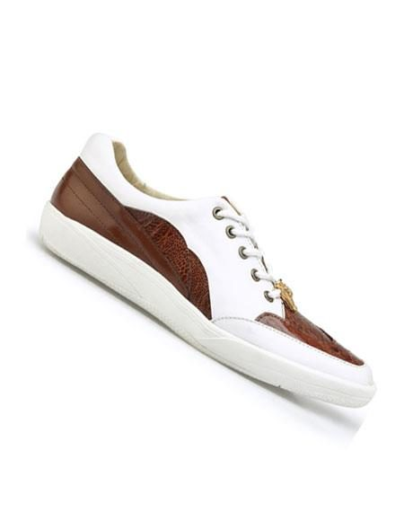 Mens Genuine Ostrich and Soft Calf Lace Up Style Cognac/White Dress Oxford Shoes Perfect for Men