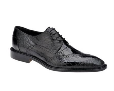 Belvedere Nino Black Ostrich Eel Brogue Shoes
