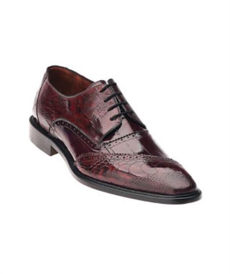 Belvedere Nino Dark Red Ostrich Eel Brogue Shoes