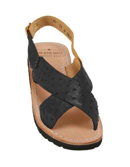 Mens Exotic Skin Sandals in ostrich or World Best Alligator ~ Gator Skin or Stingray skin in White or Black or Red or Tan or Brown or Copper or Olive colors