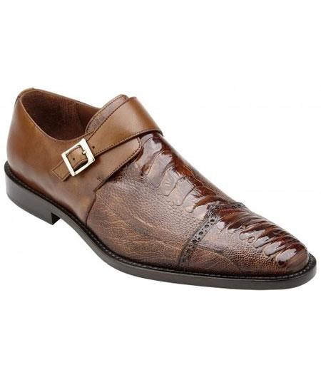 Men's Monk Strap Antique Almond Genuine Ostrich & Italian Calfskin Loafer Shoes