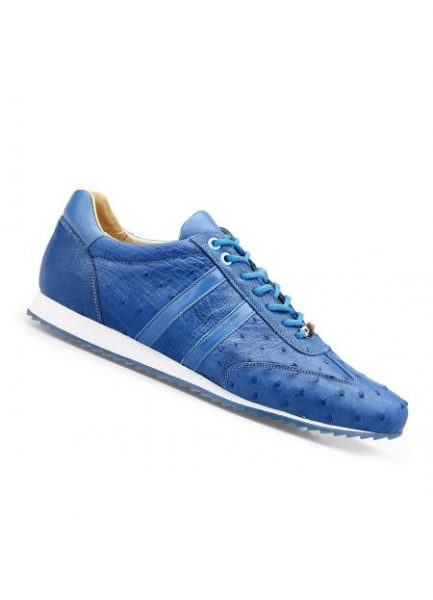 Men's Genuine Ostrich Leather Lining Rubber Sole Shoes Baby Blue