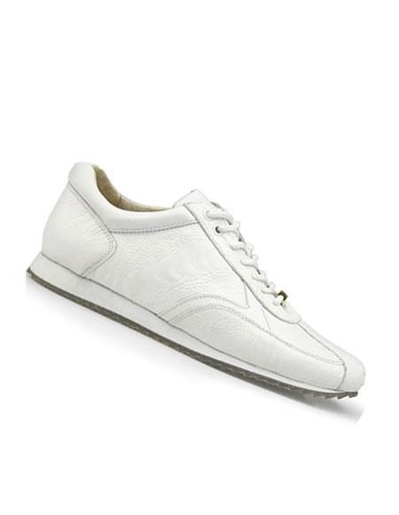Mens Genuine Ostrich White Lace Up Style Dress Oxford Shoes Perfect for Men