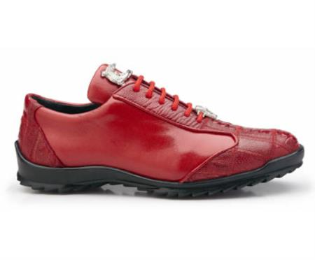 Paulo Authentic Belvedere Exotic Skin Brand Genuine Red Ostrich and Soft Calf Leather Lining Shoe