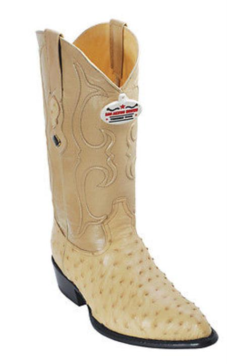 Full Quill Ostrich Leather Beige Los Altos Men Cowboy Boots Western Rider Style