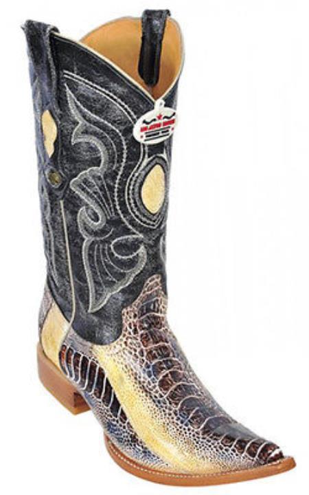 Ostrich Leg Leather Beige Los Altos Men's Western Boots Cowboy Classics Riding