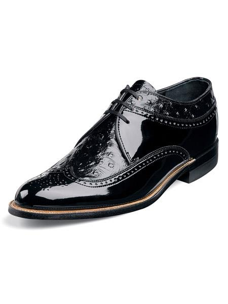 Mens Ostrich Print Leather Upper Black Shoes