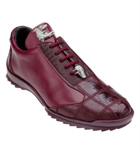 Belvedere Burgundy ~ Wine ~ Maroon Color Ostrich Skin Casual Exotic Sneaker