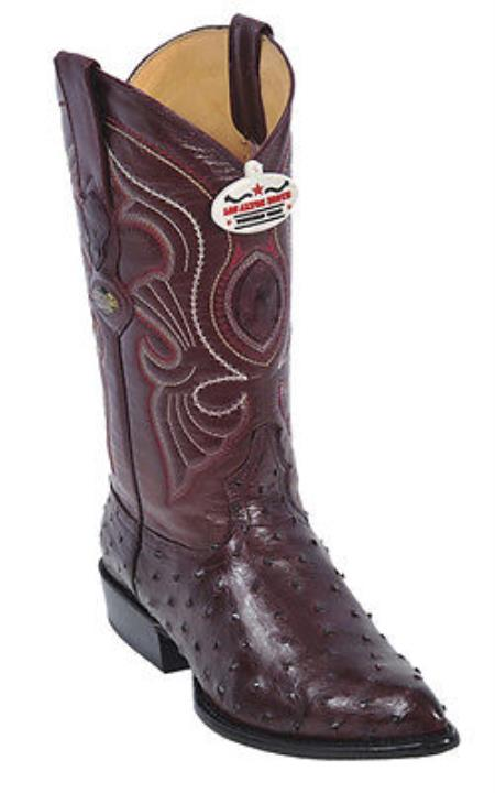 Full Quill Ostrich Burgundy ~ Maroon ~ Wine Color Los Altos Men's Cowboy Boots Western Rider Style