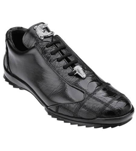 Belvedere Black Ostrich Skin Casual Exotic Sneaker