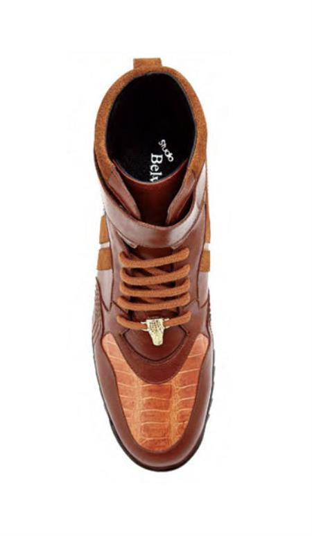 Belvedere Mens Honey Ostrich Skin Casual Sneakers