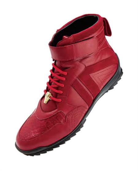 Belvedere Mens Red Ostrich Skin Casual Sneakers