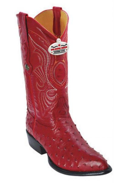 Full Quill Ostrich Vintage Red Los Altos Men's Western Boots Cowboy Classics