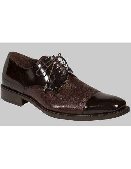Mens Brown Lace Up Deer Skin Cap Toe Oxford Leather Shoes Authentic Mezlan Brand