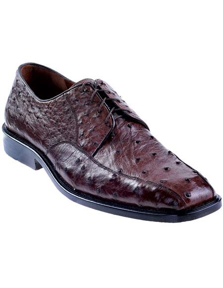 Men's Brown Genuine Ostrich Oxfords Style Los Altos Dress Shoes