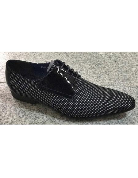 Men's Black / White Pin Dot Pattern Genuine Soft Genuine Leather Lace Up Zota Unique Zota Mens Dress Shoe