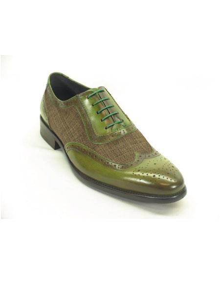 Men's Plaid Leather Wingtip Oxford Olive Fashionable Shoes
