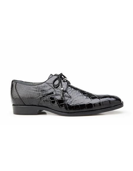Lago Mens Black Plain Toe Genuine World Best Alligator ~ Gator Skin Tassel Laces Belvedere Shoe