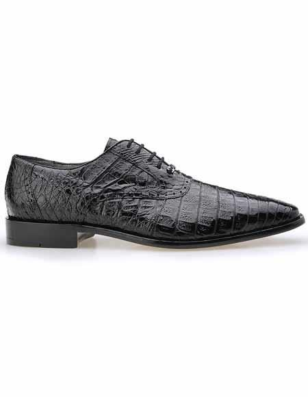 Belvedere Men's Black All Over Laceup Plain Toe Crocodile Skin Shoes