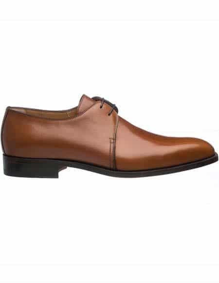Ferrini Mens Plain Toe Brown Leather Sole French Calfskin Derby Shoes
