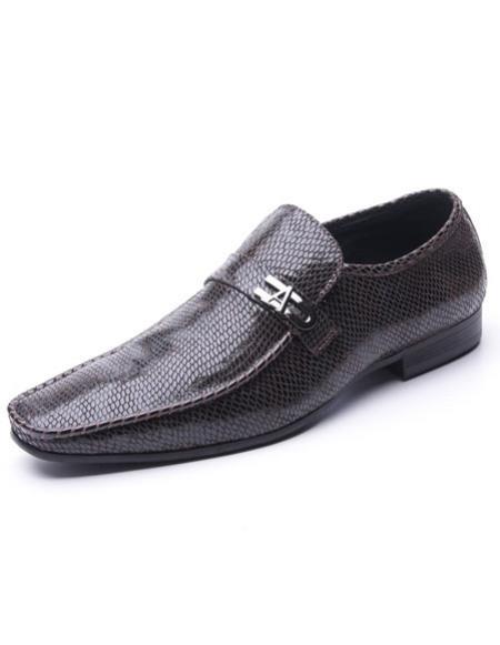 Men's Plain Toe Brown Embossed Soft Genuine Leather Upper Zota Mens Unique Dress Shoes Unique Zota Mens Dress Shoe