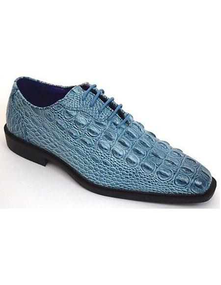 Men's Stylish Plain Toe Oxford Gator Print Denim Blue Dress Shoes