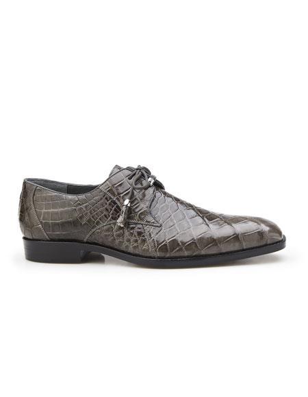 Lago Mens Gray Plain Toe Genuine World Best Alligator ~ Gator Skin Tassel Laces Belvedere Shoe