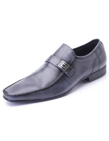 Mens Slip-On Style Plain Toe Leather Navy Zota Mens Unique Dress Shoes Unique Zota Mens Dress Shoe