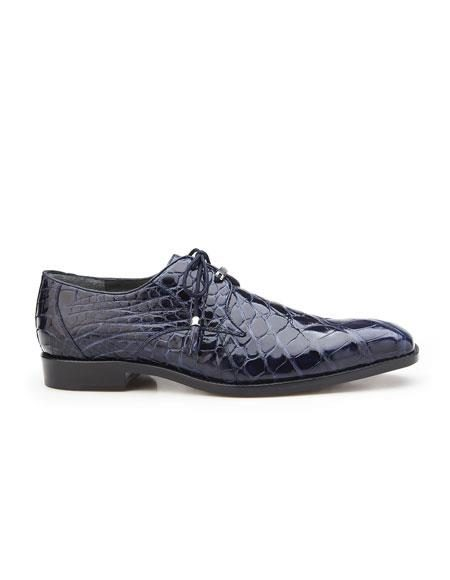 Lago Mens Navy Plain Toe Genuine World Best Alligator ~ Gator Skin Tassel Laces Belvedere Shoe
