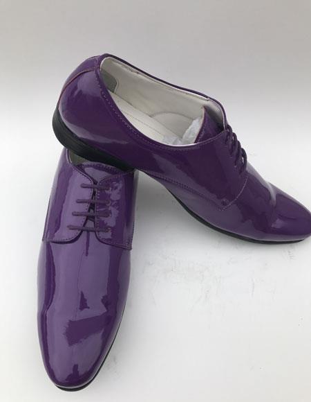 Men's Plain Toe Lace Up Style purple Shiny Tuxedo formal Dress Shoes