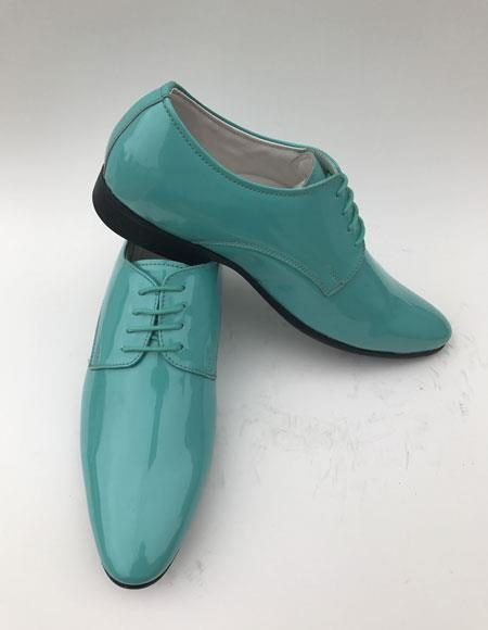 Men's Shiny Turquoise ~ Aqua Teal ~ Light Blue Plain Toe Lace Up Style formal Shiny Tuxedo Dress Shoes