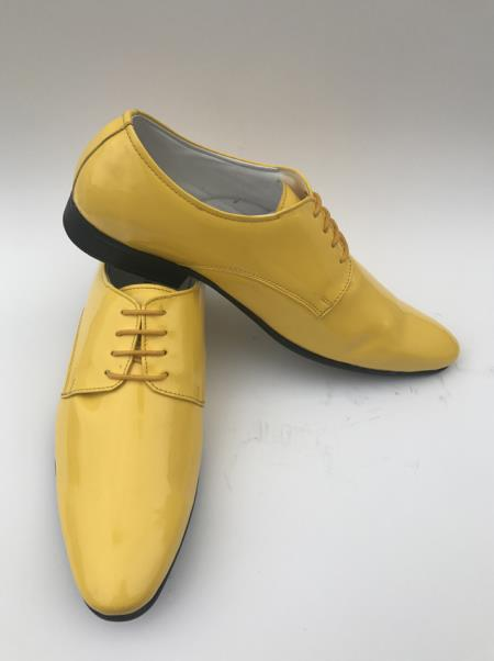 Mens Lace Up Style Yellow Leather Plain Toe Gold Dress Shoes