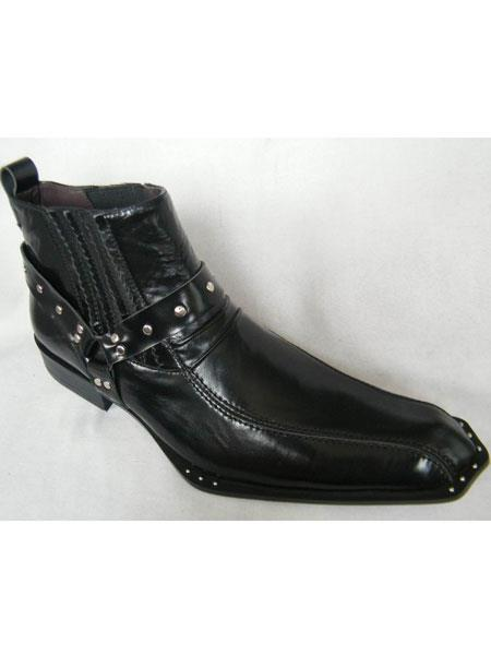 Zota Mens Unique Dress Unique Zota Mens Dress Shoe Brand Men's Italian Style Pointy Toe Leather Black Boots Rivet